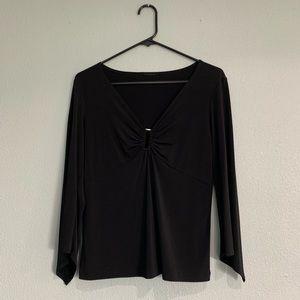 3/4 Sleeve Black Dressy Top